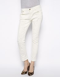Mango Rip And Repair White Jeans Beige