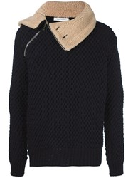 Balmain Pierre Shearling Collar Knit Jacket Blue