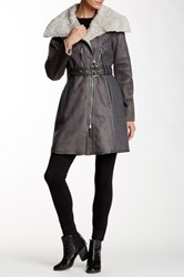 Vince Camuto Fleece Asymmetrical Jacket Gray