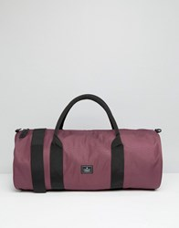 Asos Barrel Bag In Burgundy With Patch Burgundy Red