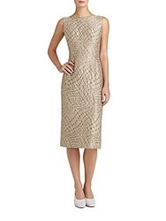 Lafayette 148 New York Carmela Jacquard Sheath Dress Gold