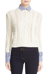 Veronica Beard Women's Surrey Sweater With Detachable Collar And Cuffs