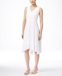 Styleandco. Style And Co. Crochet Front Handkerchief Hem Dress Only At Macy's Bright White