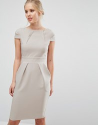 Closet London Cap Sleeve Midi Pencil Dress With Tie Back Grey