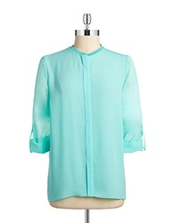 T Tahari Button Front Blouse Bali