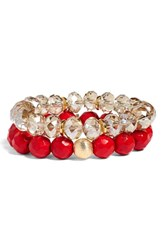 Bourbon And Boweties Set Of 2 Stone Beaded Stretch Bracelets Red Blue