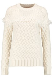 Tory Burch Fringed Cable Knit Wool Sweater Cream