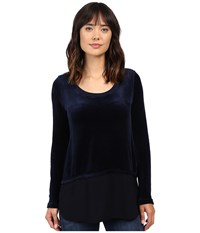 Allen Allen Velour Double Layer Navy Women's Clothing