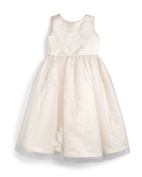 Joan Calabrese Sleeveless Lace Trim Satin And Tulle Dress Petal Ivory Size 4 8