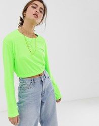 Weekday Cropped Long Sleeves Sweatshirt In Neon Green