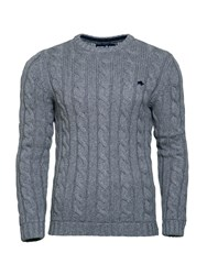 Raging Bull Men's Heavy Cable Crew Neck Grey Marl