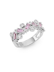 Effy Final Call Diamond Pink Sapphire And 14K White Gold Ring
