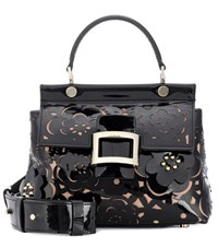 Roger Vivier Viv' Cabas Small Patent Leather Tote Black