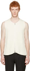 Maison Martin Margiela Off White Rib Knit Zip Vest