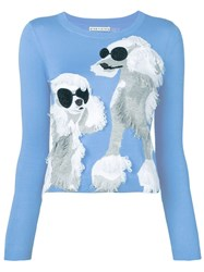 Alice Olivia Dog Embroidered Sweater Blue
