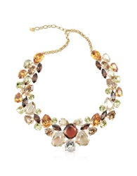 A Z Collection Multicolor Crystal Necklace Gold