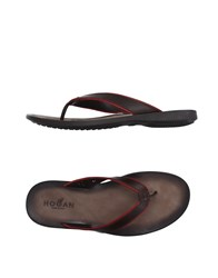 Hogan Footwear Thong Sandals Men Dark Brown