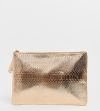 South Beach Exclusive Rose Gold Snake Embossed Clutch Bag