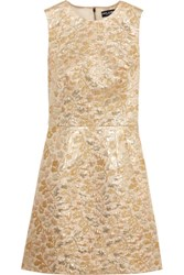 Dolce And Gabbana Metallic Brocade Mini Dress Gold