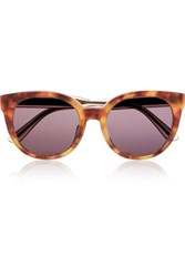 Bottega Veneta Cat Eye Acetate And Bronze Tone Sunglasses Brown