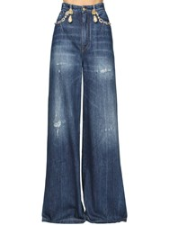 Dolce And Gabbana Jewel Embellished Cotton Denim Jeans