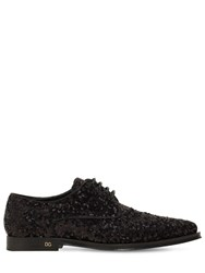 Dolce And Gabbana 10Mm Millennial Sequined Lace Up Shoes Black
