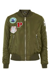 Topshop Tall Badged Ma1 Bomber Jacket Khaki