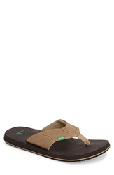 Sanuk 'Fault Line' Flip Flop Men Tan Brown