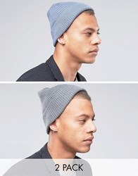 Asos Fisherman Beanie 2 Pack In Grey And Teal Multi