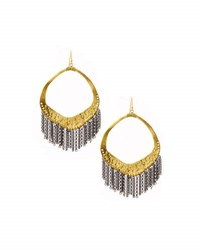Nakamol Hammered Chain Fringe Drop Earrings Gold
