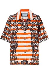 Prada Printed Cotton Poplin Shirt Orange