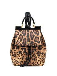 Dolce And Gabbana Sicily Small Leopard Print Coated Canvas And Leather Backpack Brown Black