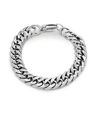 Steve Madden Stainless Steel Curb Chain Bracelet Burnished Silver