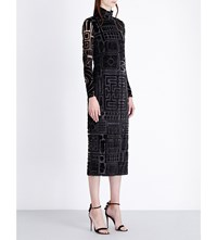 Burberry Turtleneck Velvet Jacquard Dress Black