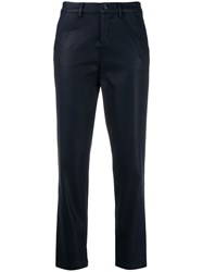 7 For All Mankind High Waisted Cropped Trousers Blue