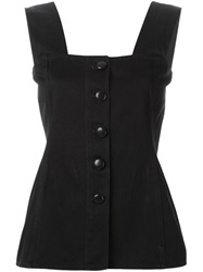 Yves Saint Laurent Vintage Front Button Denim Vest Black