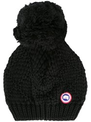 Canada Goose Pompom Cable Knit Beanie Hat Black