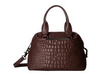French Connection Monica Satchel Biker Berry Quilted Lamb Pu Satchel Handbags Brown