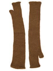 Isabel Benenato Long Fingerless Gloves Brown