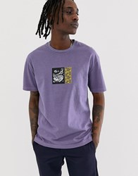 Globe Hammered T Shirt With Chest And Back Print In Lilac Purple