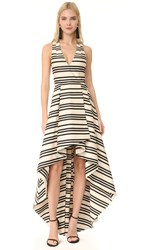Alice Olivia Aveena High Low Gown Variegated Stripe