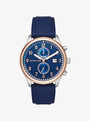 Michael Kors Saunder Rose Gold Tone And Silicone Watch Silver