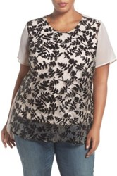 Vince Camuto Beaded Chiffon Top Plus Size Black