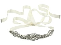Nina Aneesa Satin Crystal Sash Ivory Satin Crystal Sash Belts Gold
