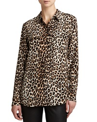 Equipment Signature Leopard Print Slim Blouse