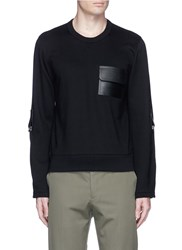 Valentino Leather Patch Pocket Sweatshirt Black