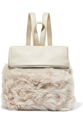 Kara Small Textured Leather And Shearling Backpack Cream