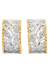 Buccellati Ramage 18 Karat White And Yellow Gold Diamond Hoop Earrings One Size