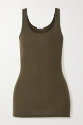 James Perse The Daily Ribbed Stretch Supima Cotton Tank Green