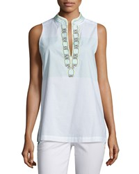 Tory Burch Sleeveless Embroidered Tunic Isla Collins Stripe Women's